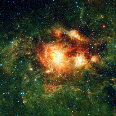 A star-forming cloud teeming with gas, dust and massive newborn stars