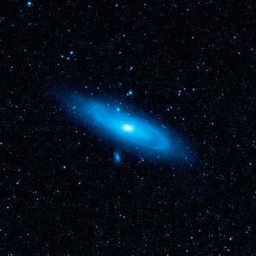 An image of the Andromeda galaxy clearly highliting apronounced warp in the disk of the galaxy, the aftermath of a collision with another galaxy