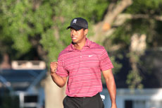 Tiger's signature fist pump - Photo by Wayne Cathel