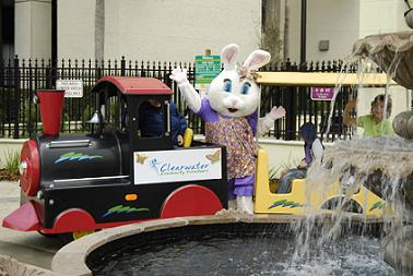 The Easter Bunny rides the CCV's signature trackless choo-choo train - Photo by Simaen Skolfield