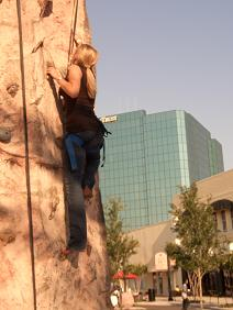 A Rock Climber in Downtown Clearwater at 4th Friday