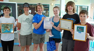 Alexander Duarle (13), Jodi Mark (mom), CMA Sea Turtle Nesting Manager Danielle O'Neil, Robyn Bergeron (13), Nick Mitchell (13) and Jordan Mark (13)