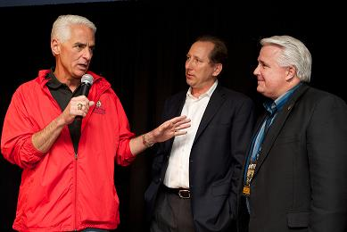 Governor Charlie Crist with John Textor and Representative Kevin Ambler - Photo by Brad Kugler