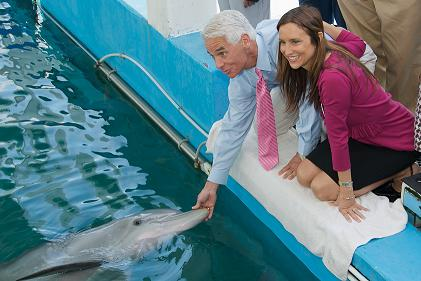 Governor Crist and wife Carole meet Winter the Dolphin - Photo by David Ziff