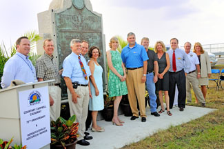 Elected Officials from Pinellas and Hillsborough Counties with the Courtney Campbell Causeway Marker