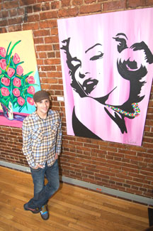 The artist Lord Colin O'Neal Next to his Rendition of Marilyn Monroe