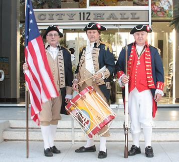 Sons of the American Revolution Members Nelson Jantzen, George Pratt and David Kitchen on the steps of City Hall - Photo by Betsy Clement