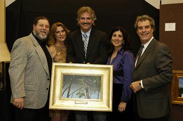 Frank Crum and wife Brenda with painter Ernest C. Simmons and winners Cyndi and Steve Heller - Photo by Simean Skolfeld