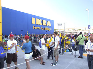 Bay area residents and new IKEA employees celebrate the opening. - Photo by Heidi Lux