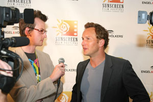 Patrick Wilson being interviewed at the Sunscreen Film Festival Opening - Photo by Brad Kugler
