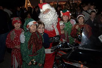 Santa Arrives in Style on a Harley Davidson - Photo by David Ziff