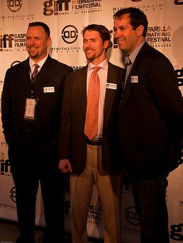 Eric Pollins, next year's GIFF President, Chad Moore, this year's GIFF President, and Eric Odum, last year's GIFF President - Photo by Andrea Lypka